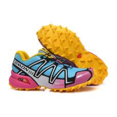 Salomon Speedcross 3 розовый с голубым и желтым